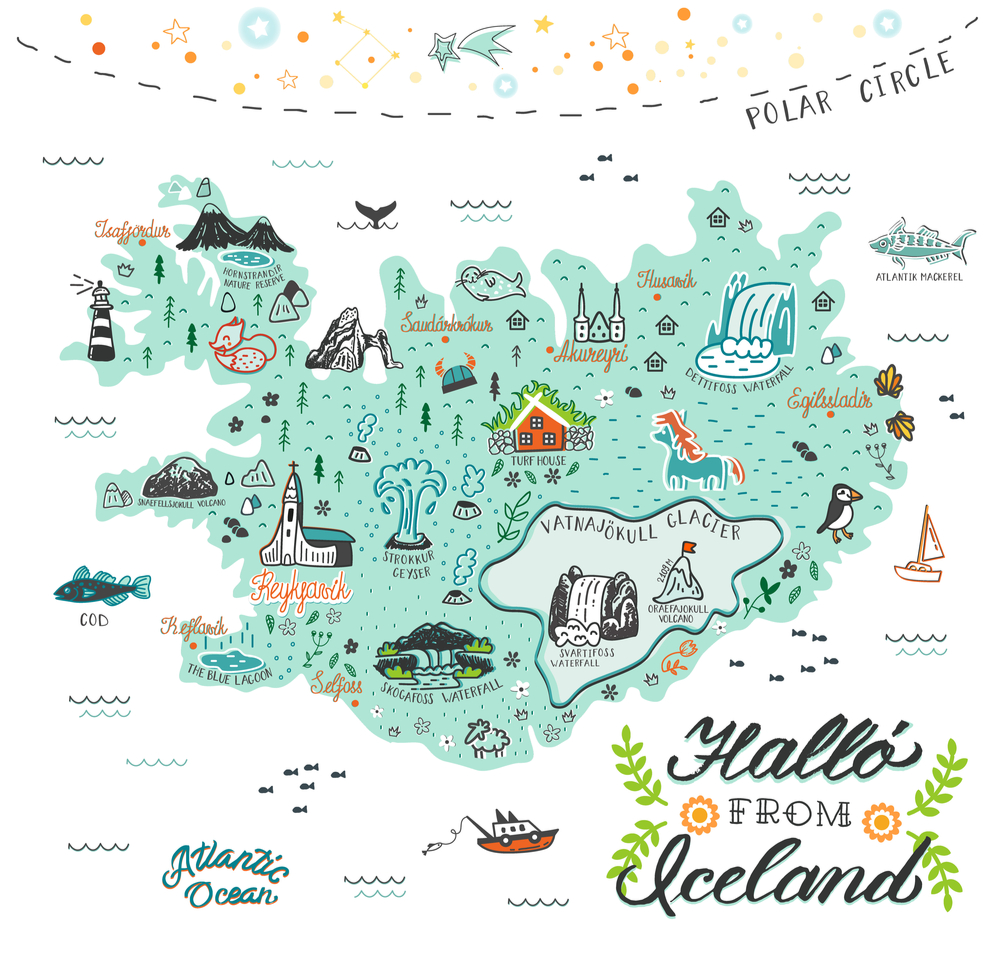 Guide to Iceland: A map with the country's regions